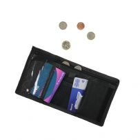 Tri-Fold Travel Wallet - Zipped Pocket ID Card Holder (Black)